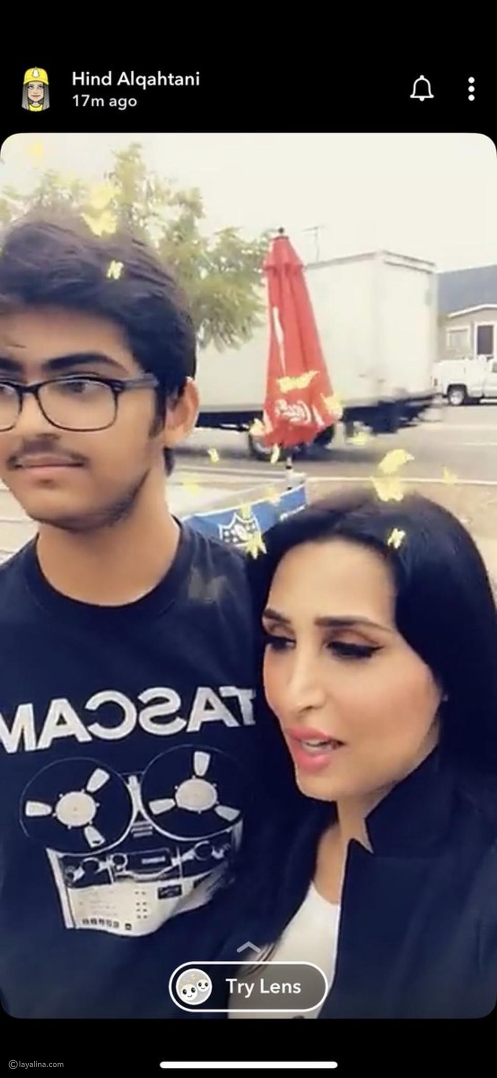 هند القحطاني مع ابنها معاذ