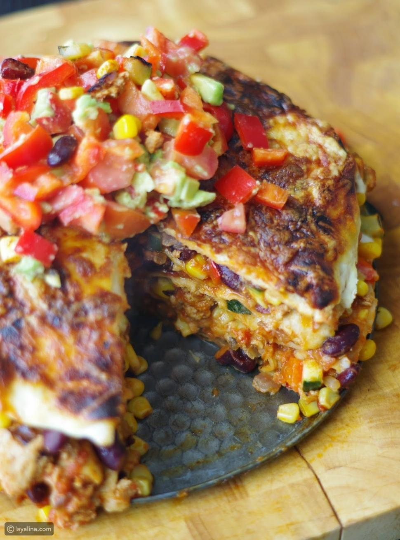 فطيرة الدجاج المكسيكي بخبز التورتيلا