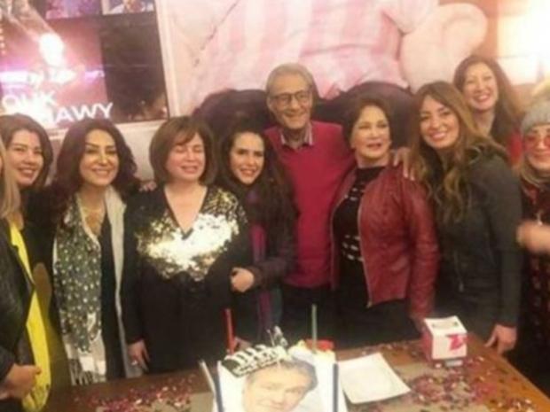 شهيرة تثير الانتقادات ضدها بسبب ما ارتدته بعيد ميلاد فاروق الفيشاوي