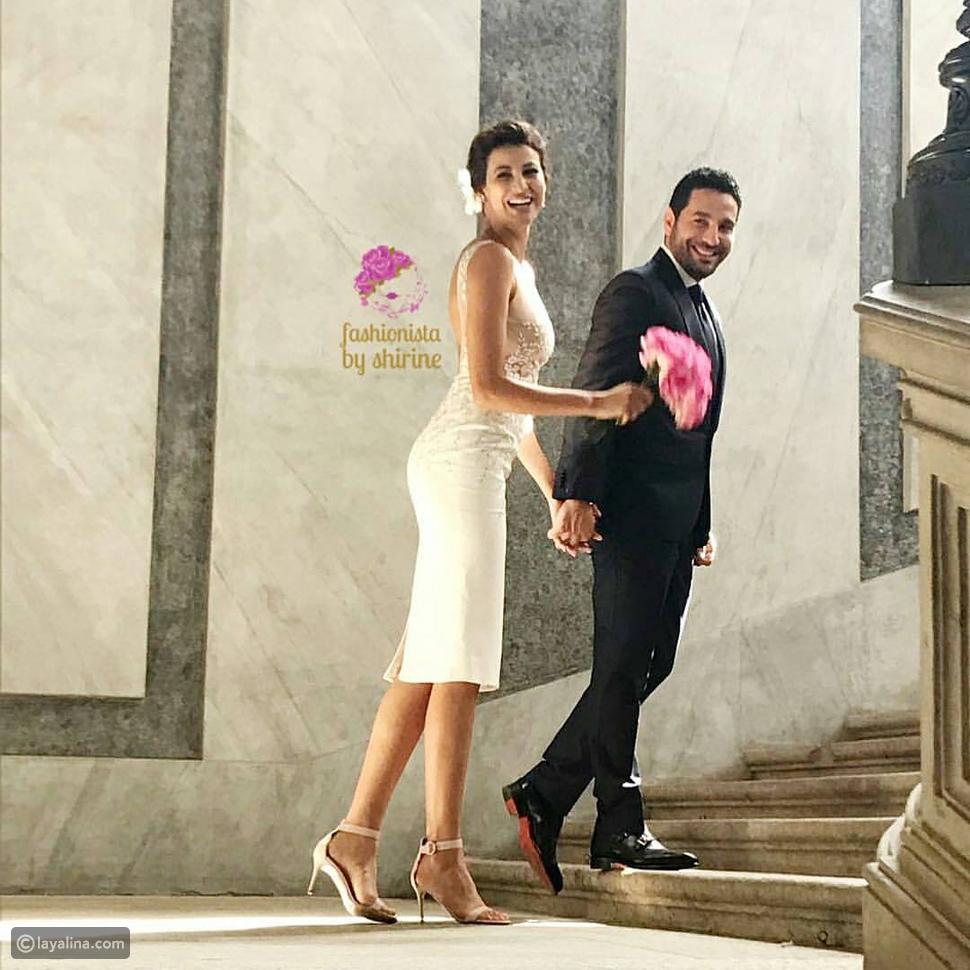 صورة تبرز تصميم فستان زفاف ريم السعيدي
