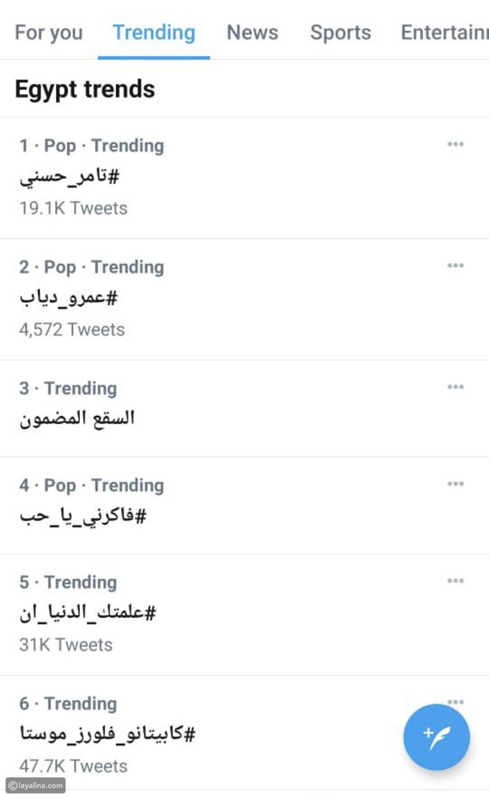 """تامر حسني يخطف تريند """"تويتر"""" من عمرو دياب بـ 20 ألف تغريدة"""