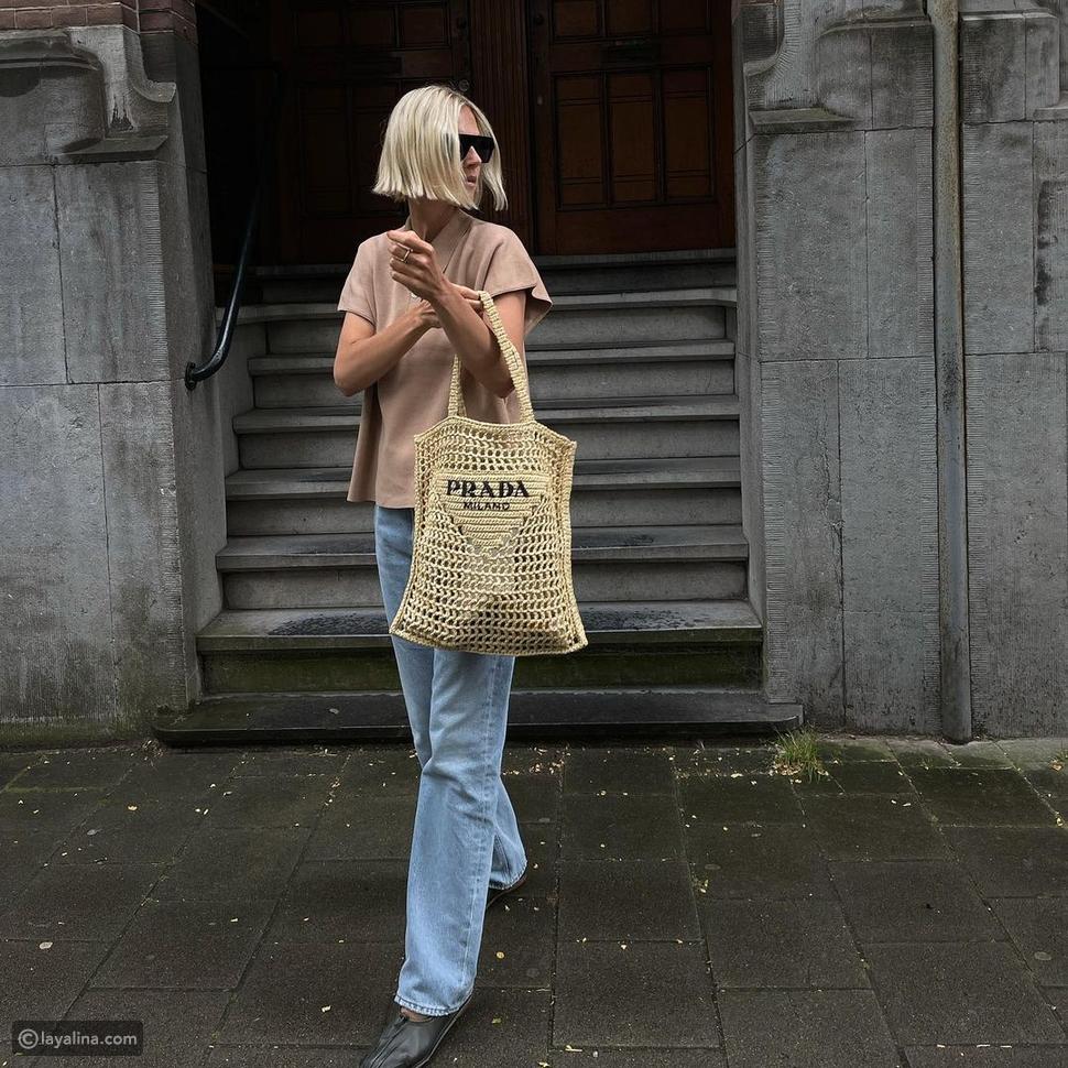 حقيبة القش من Prada