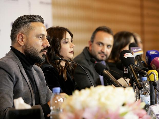 من المؤتمر الصحفي لإطلاق مسلسل مسافة أمان في دمشق