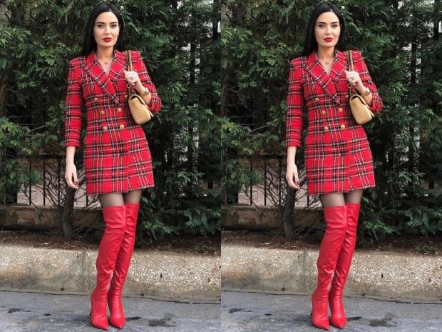 أطلت سيرين عبد النور بفستان على شكل جاكيت بليزر باللون الأحمر