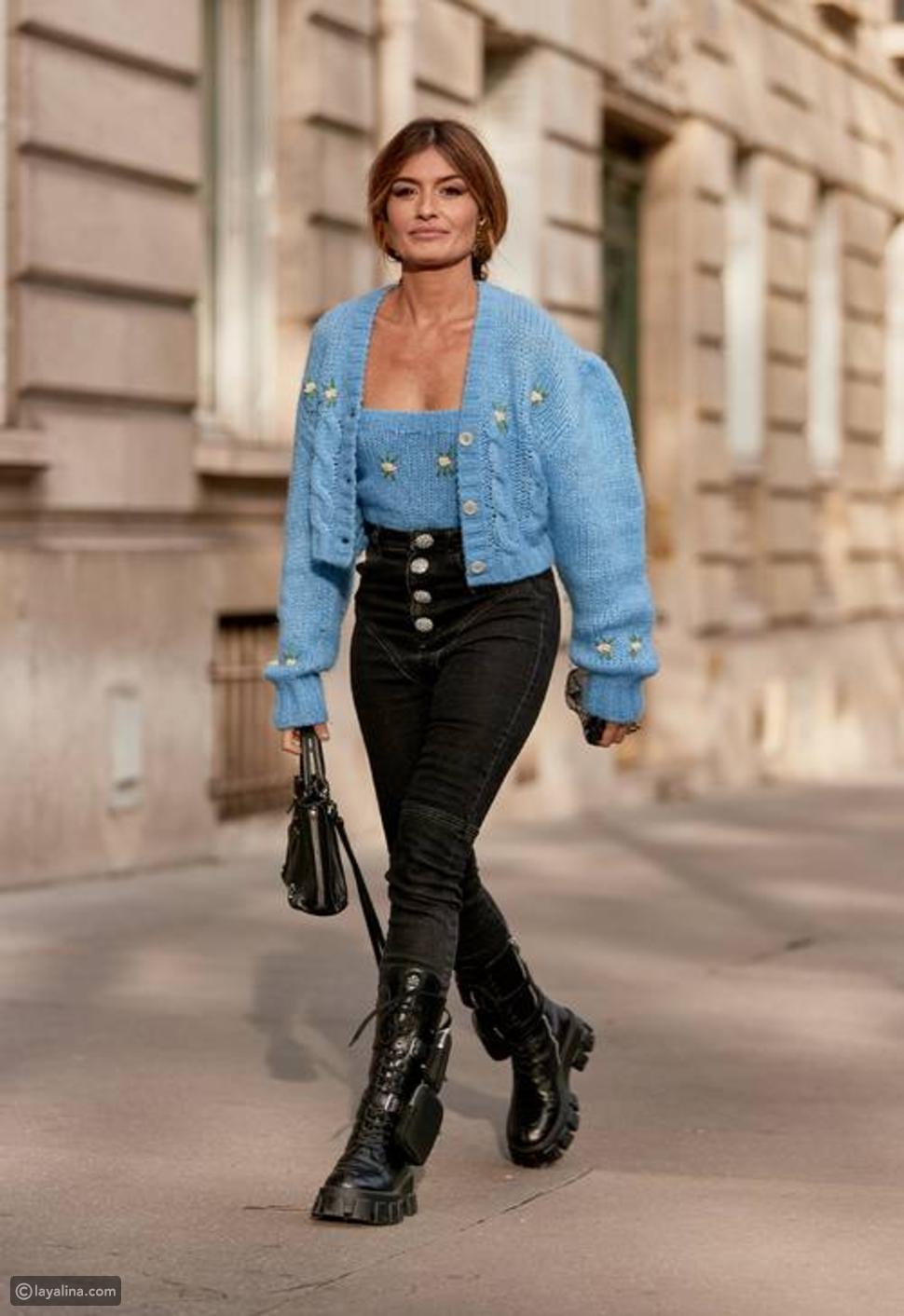 بنطال جينز مزين بأزرار