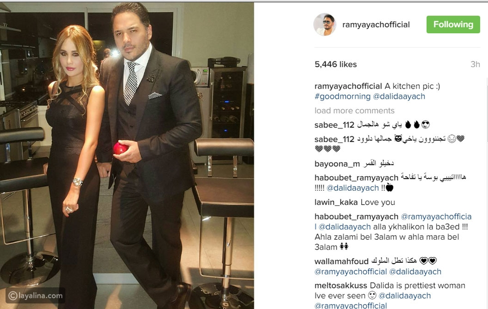 رامي عياش يمازح محبيه بتعليق طريف على صورته مع زوجته وإطلالة الأخيرة حديث الجميع
