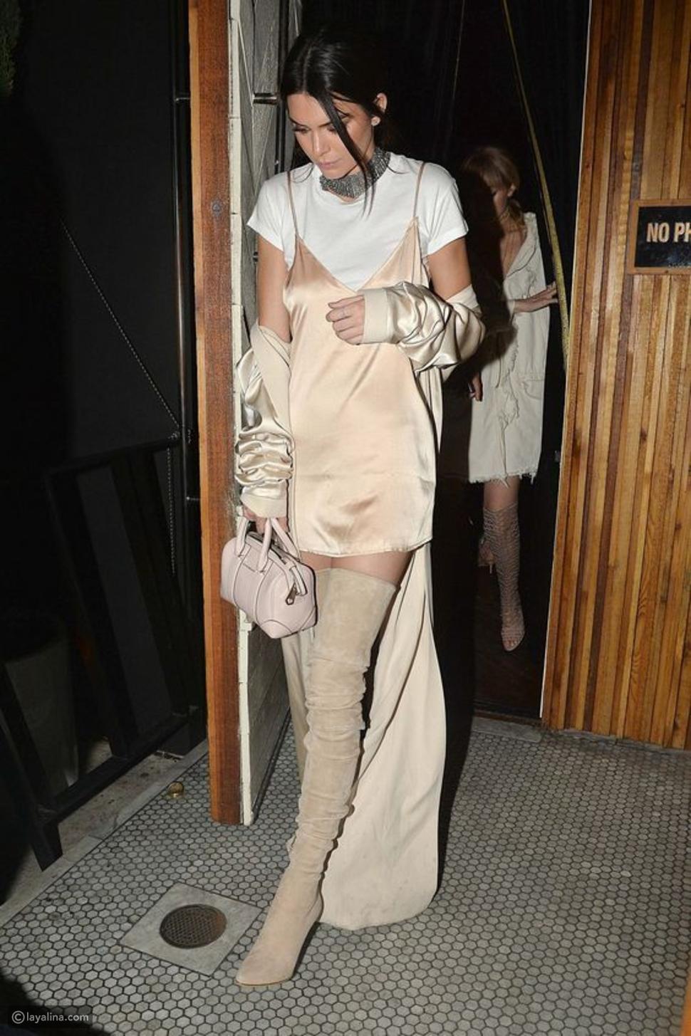 ارتدي الفستان في الشتاء على طريقة عارضة الأزياء كيندال جينر