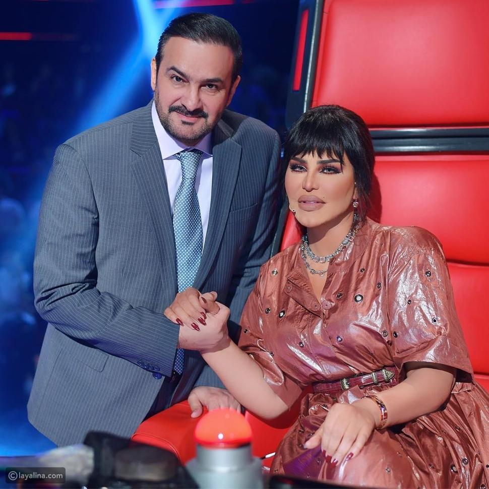 أحلام مع زوجها في كواليس العرض المباشر الخامس من ذا فويس