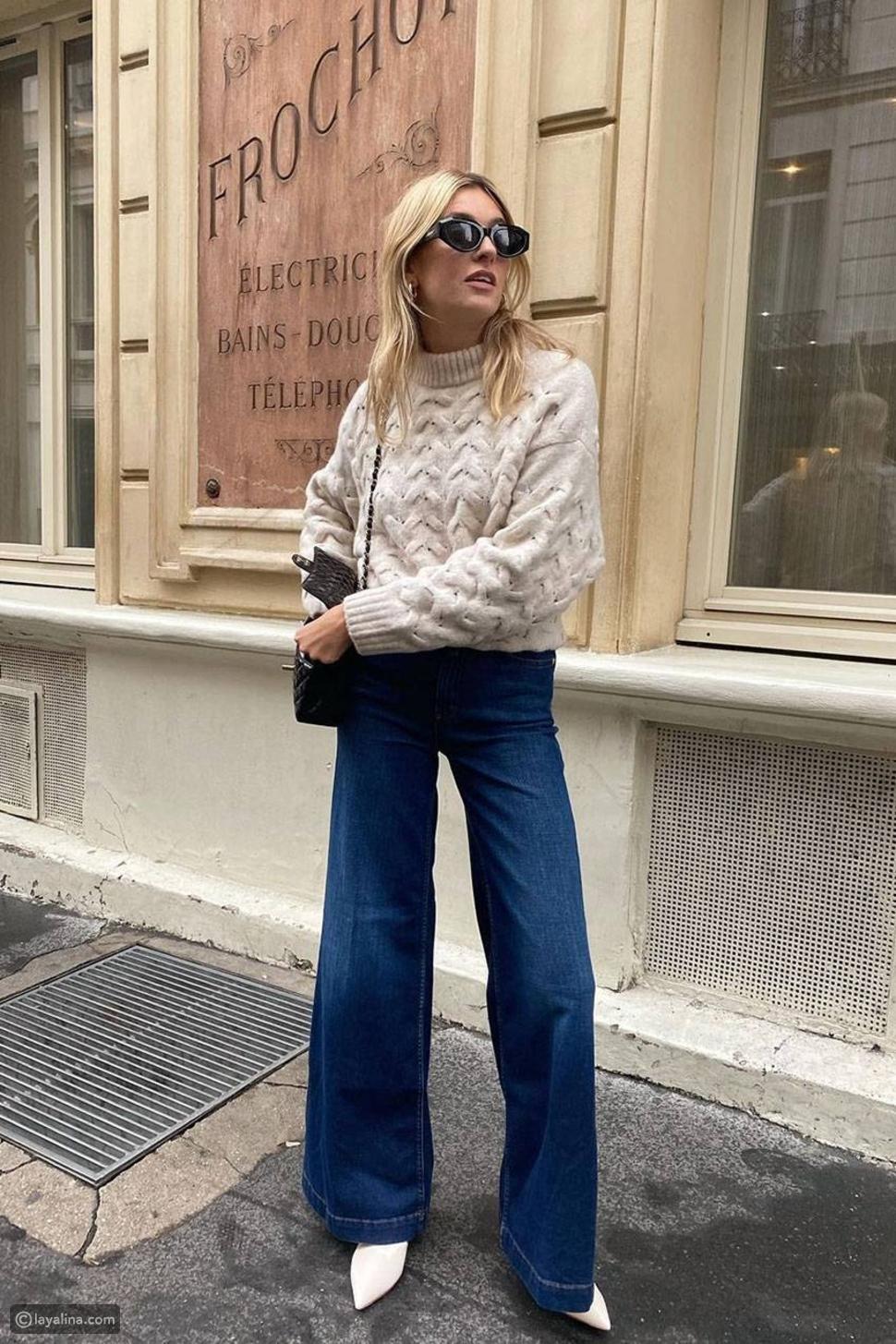 كنزة سميكة مع بنطلون جينز واسع الساق داكن