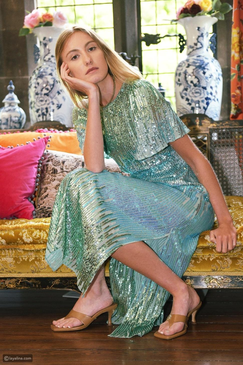 فستان مزين بالترتر بألوان متدرجة منRixo