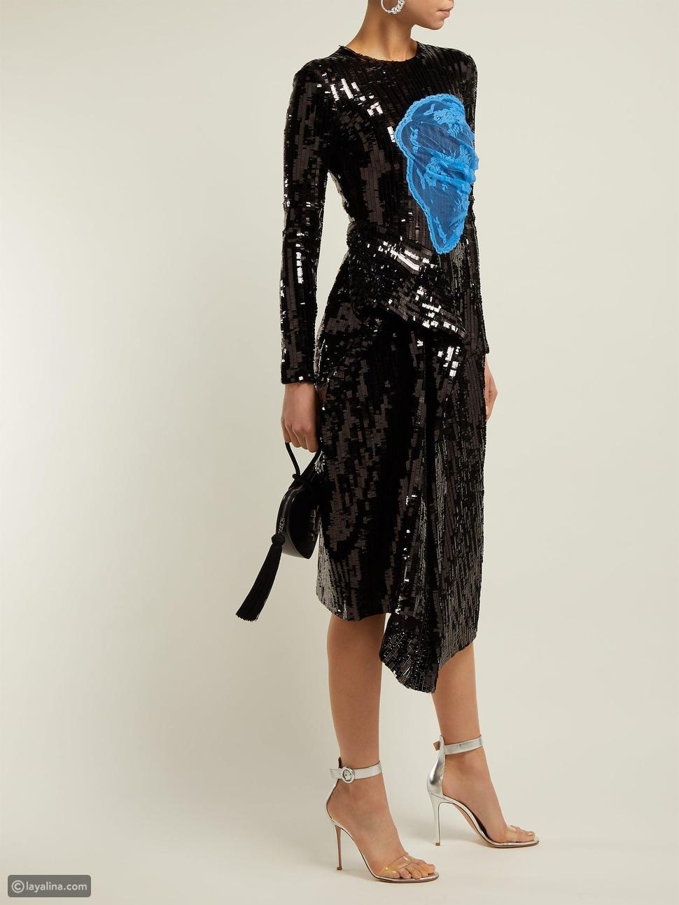 فستان ترتر أسود مزين بالدانتيل منThornton Bregazzi
