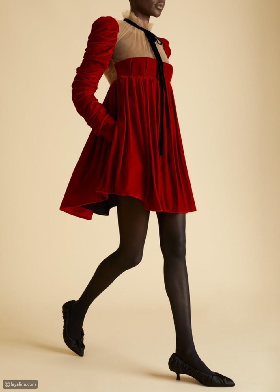 فستان قصيرمخملي من Khaite