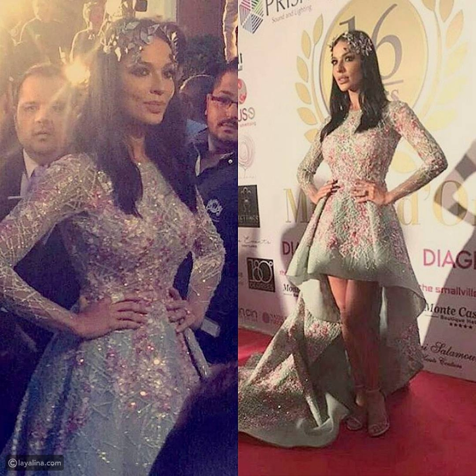 صور نادين نجيم ملكة إغريقية ساحرة بفستان زهير مراد في حفل الموريكس دور 2016