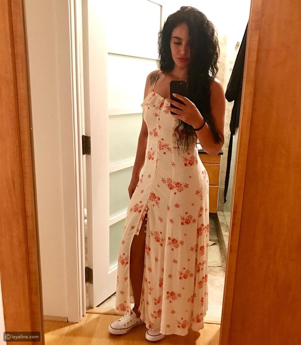 زوجة قصي خولي بفستان صيفي يبرز أنوثتها