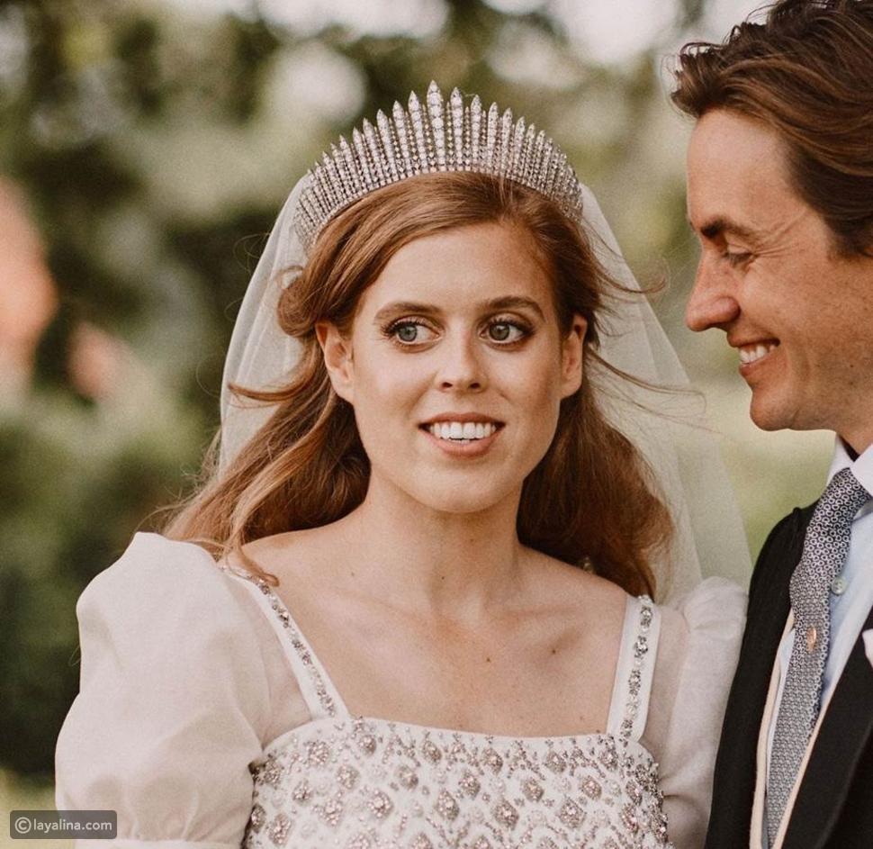الأميرة بياتريس ترتدي تاجFringe Tiaraفي حفل زفافها عام 2020