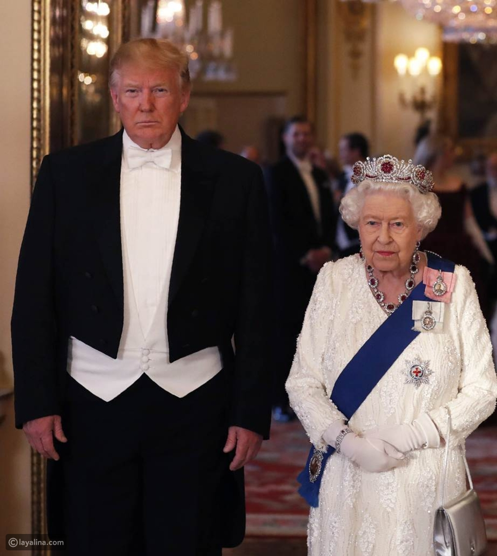 الملكة ترتدي تاجاًمن الياقوت البورمي للقاء الرئيس دونالد ترامب في عام 2019