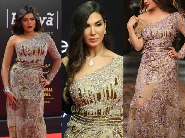 3 فنانات بنفس الفستان من تصميم هاني البحيري: تعديلات بسيطة لكل منهن