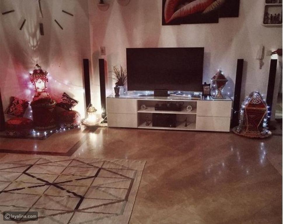 صورة مي كساب تستعرض جزء من منزلها المزيّن بزينة رمضان