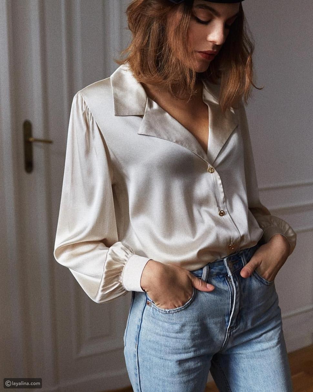 قميص أبيض ساتان