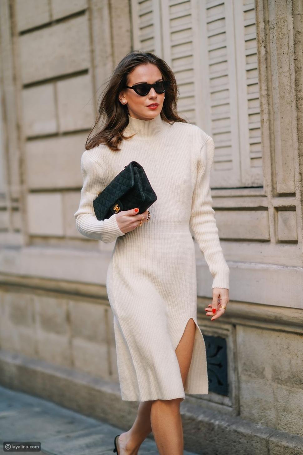 فستان أبيض مريح