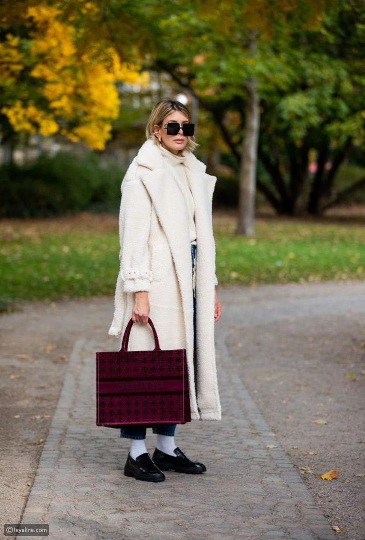معطف أبيض شيريلينغ