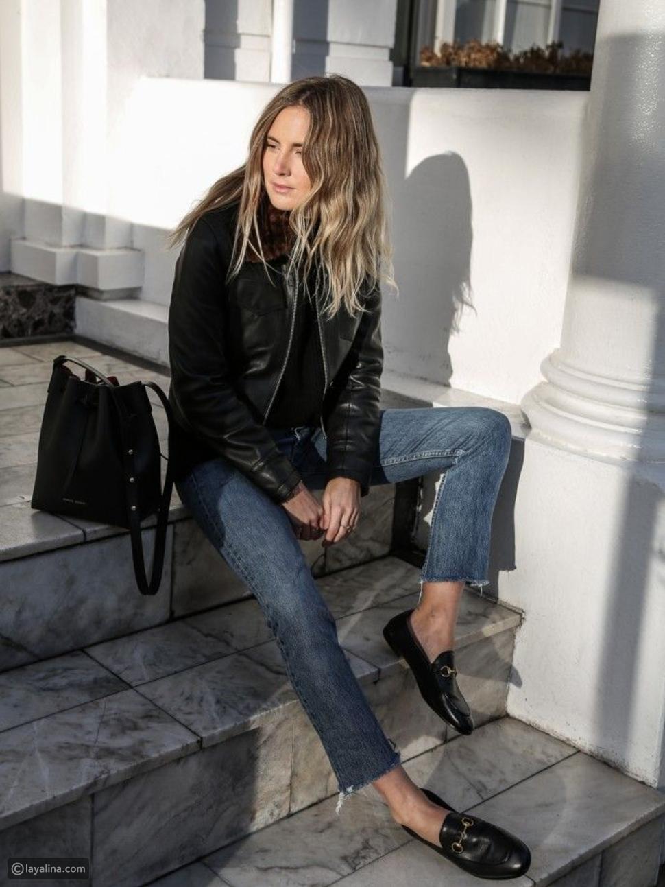 بنطلون جينز مع أحذية لوفرز