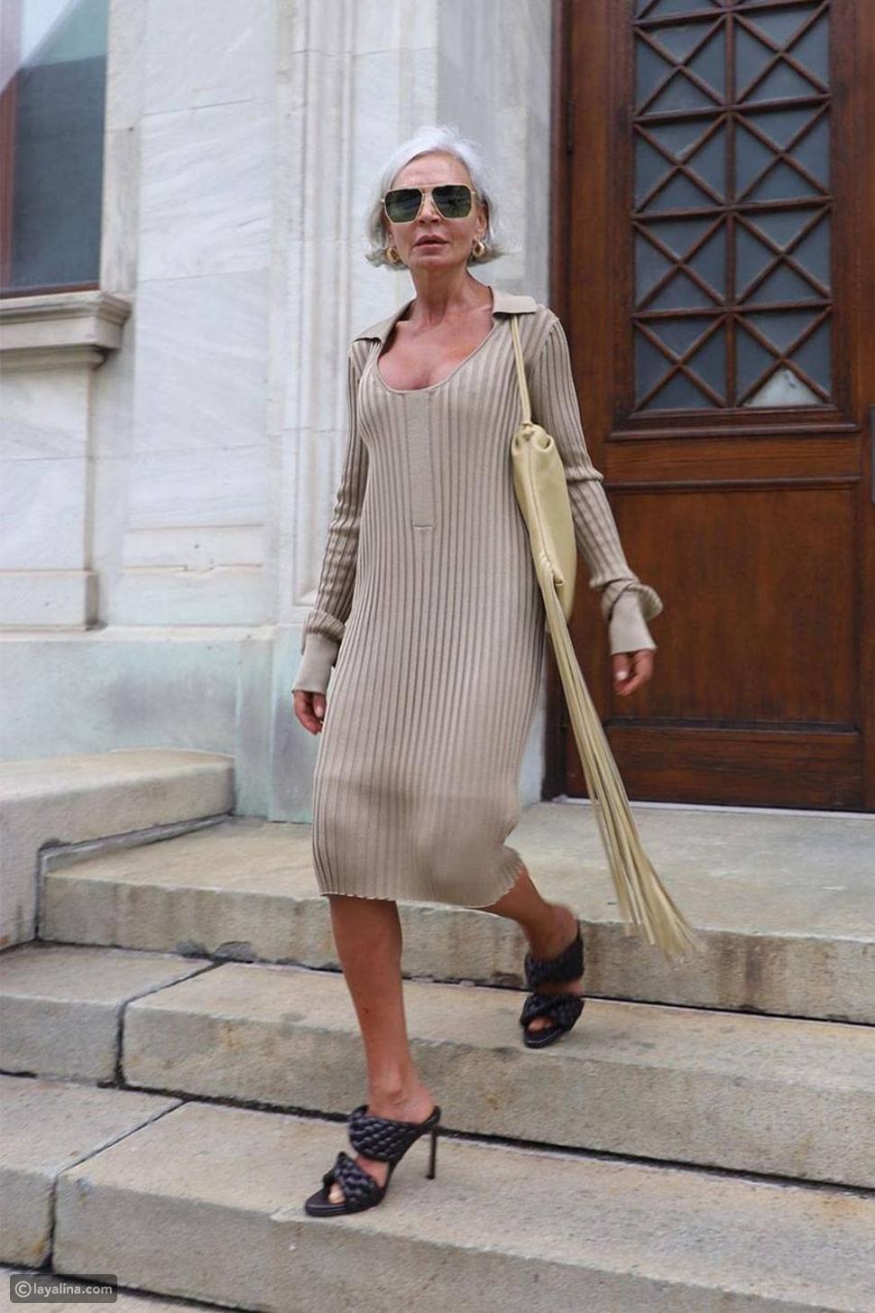 فستان صوف مع أحذية موليزMules