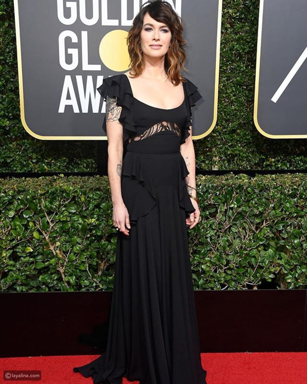 لانا هيدي ترتدي فستان أسود من مجموعة الأزياء الجاهزة للمصمم إيلي صعب في حفل الجولدن غلوب 2018