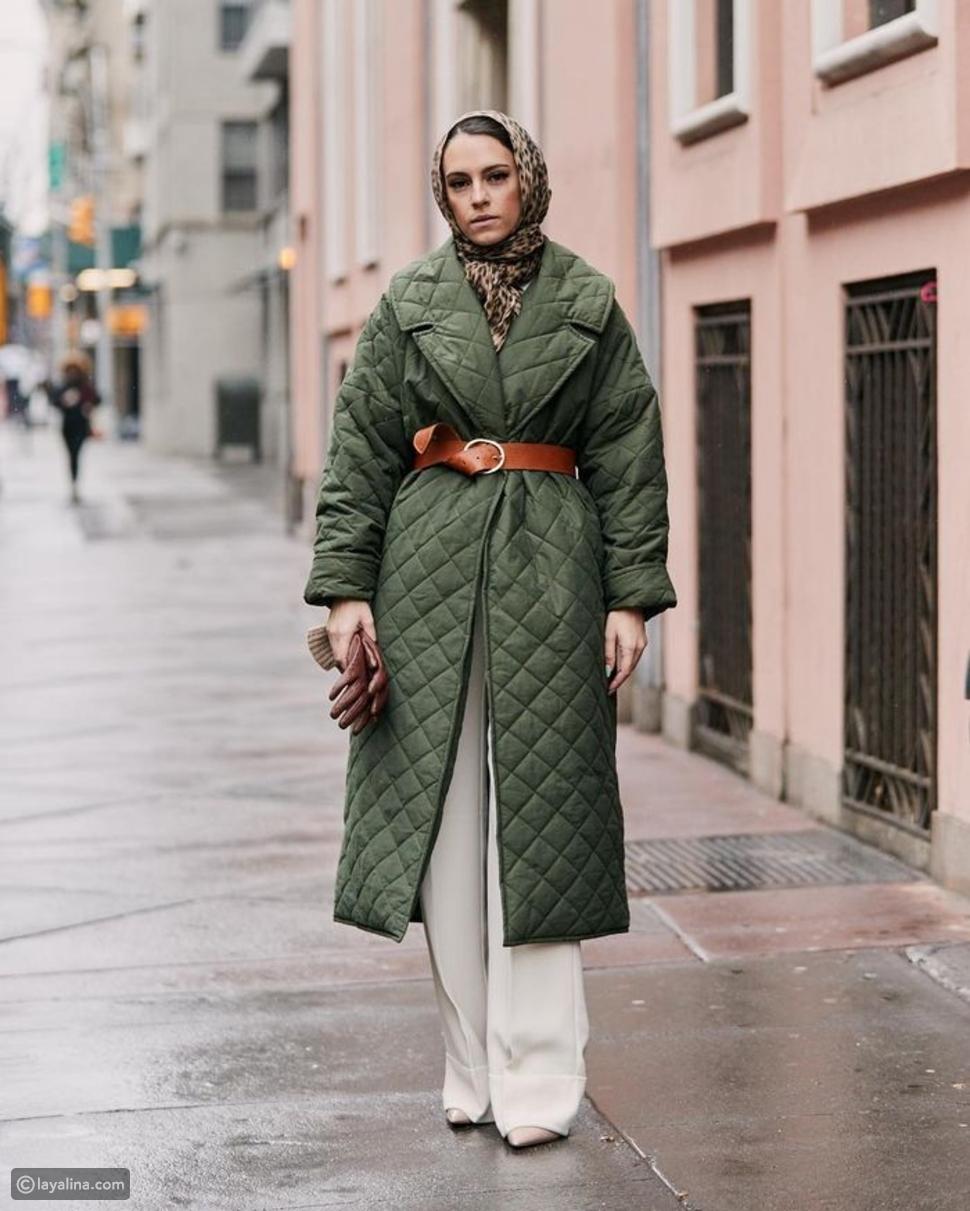 معطف مبطن مع حزام للخصر