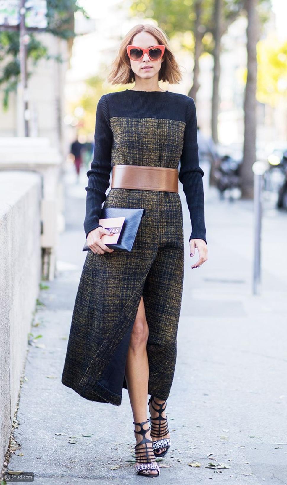 حزام عريض مع الفستان