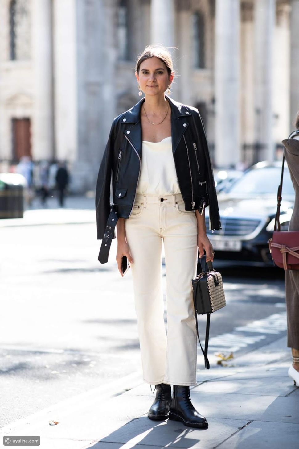 جينز أبيض مع جاكيت جلد