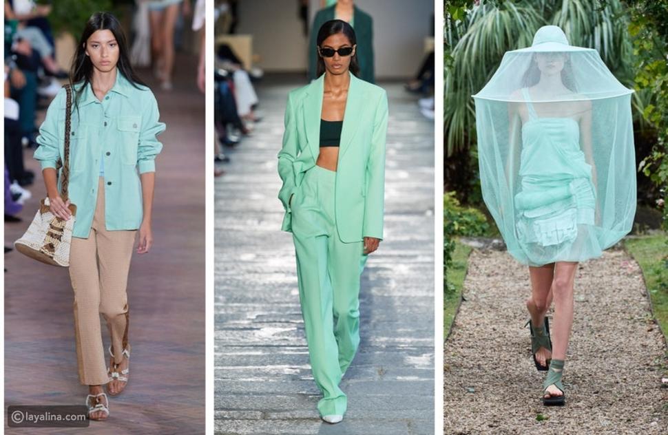 الأخضر النعناع من عروض الأزياء