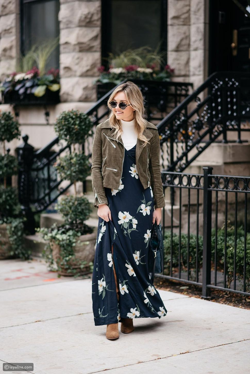 أزياء بنقش الأزهار في الخريف