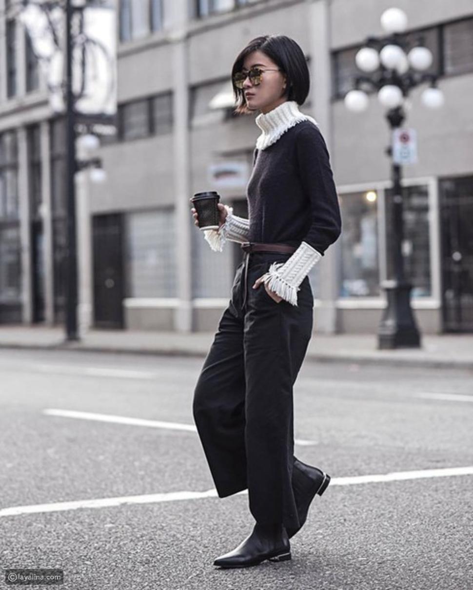 بنطال جينز بقصة مستقيمة Culotte High Ankle Jeans