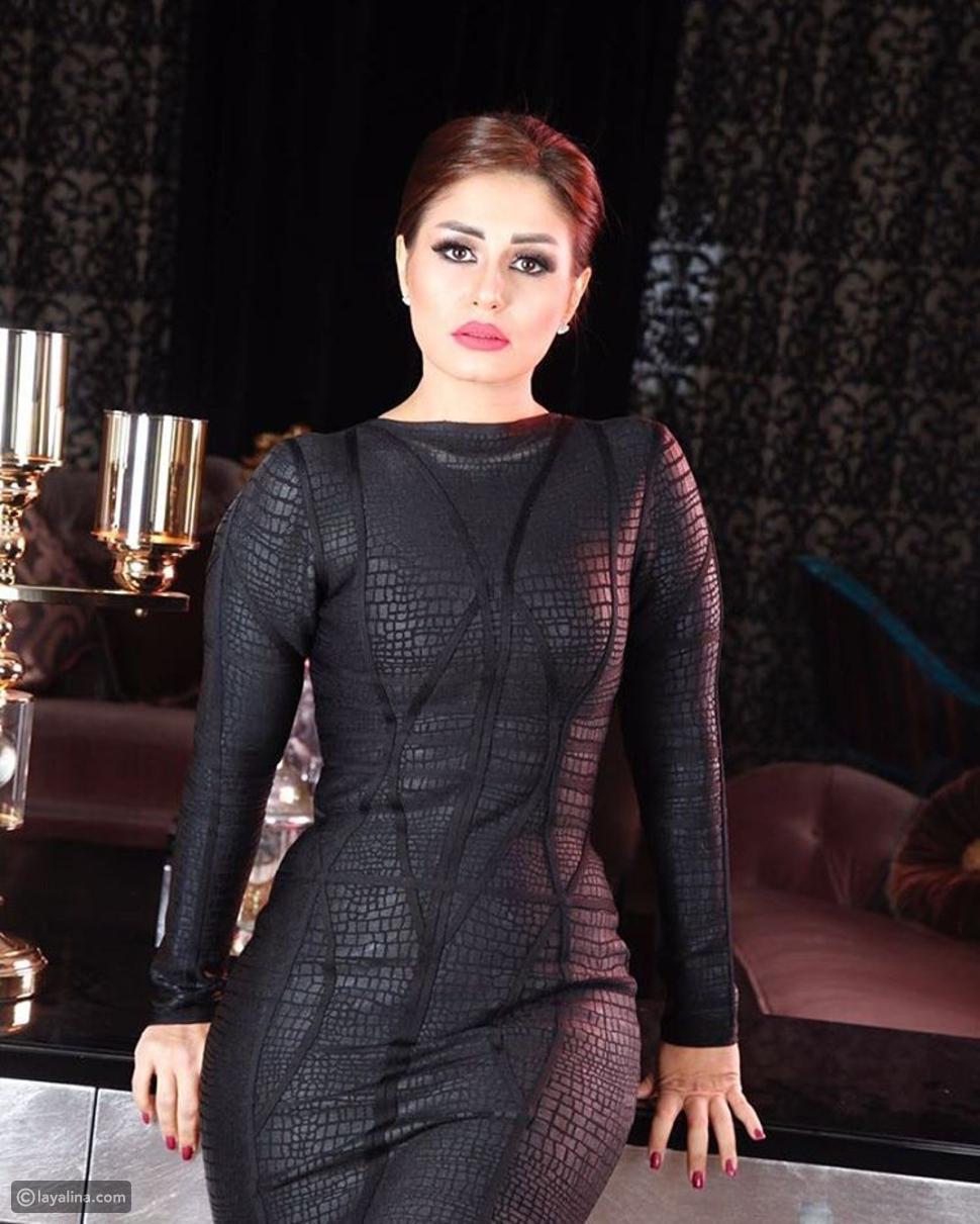 منة فضالي بفستان أسود
