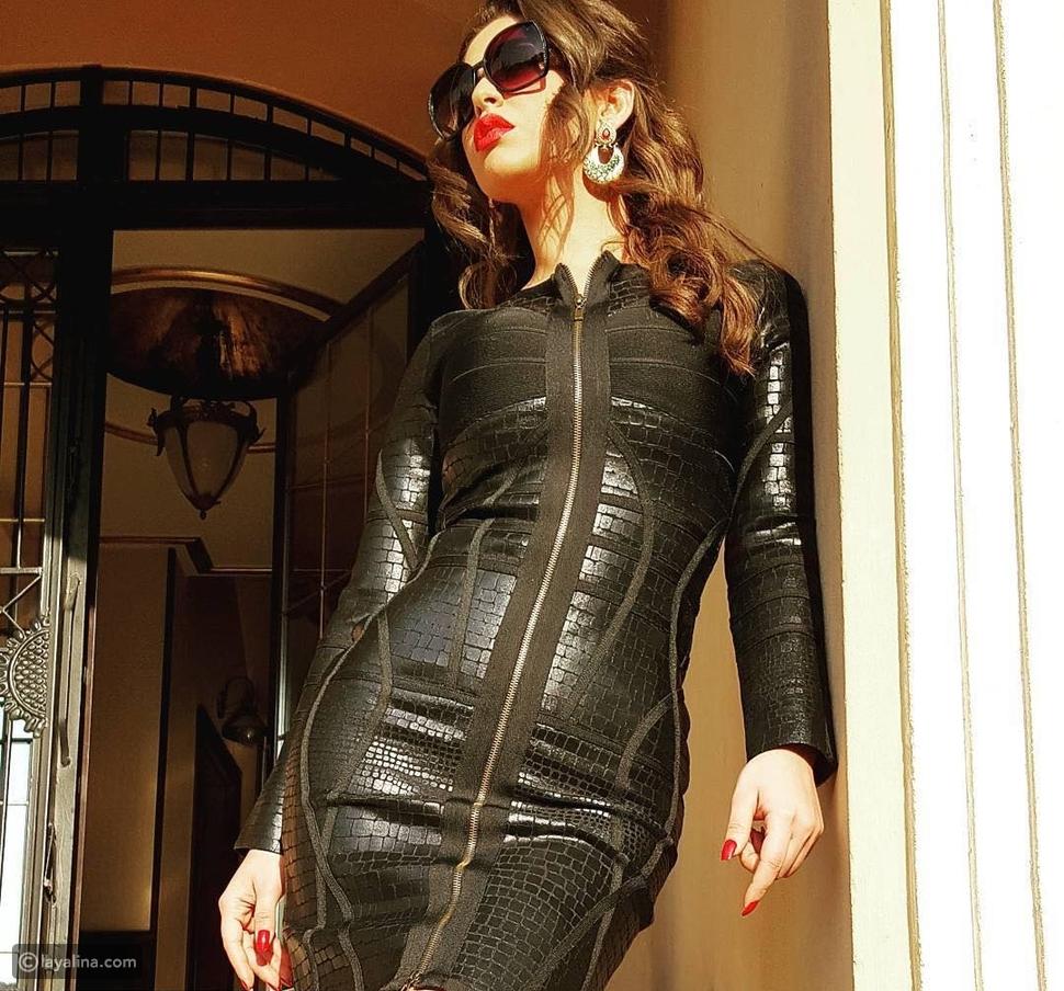 مي سليم بفستان أسود قصير