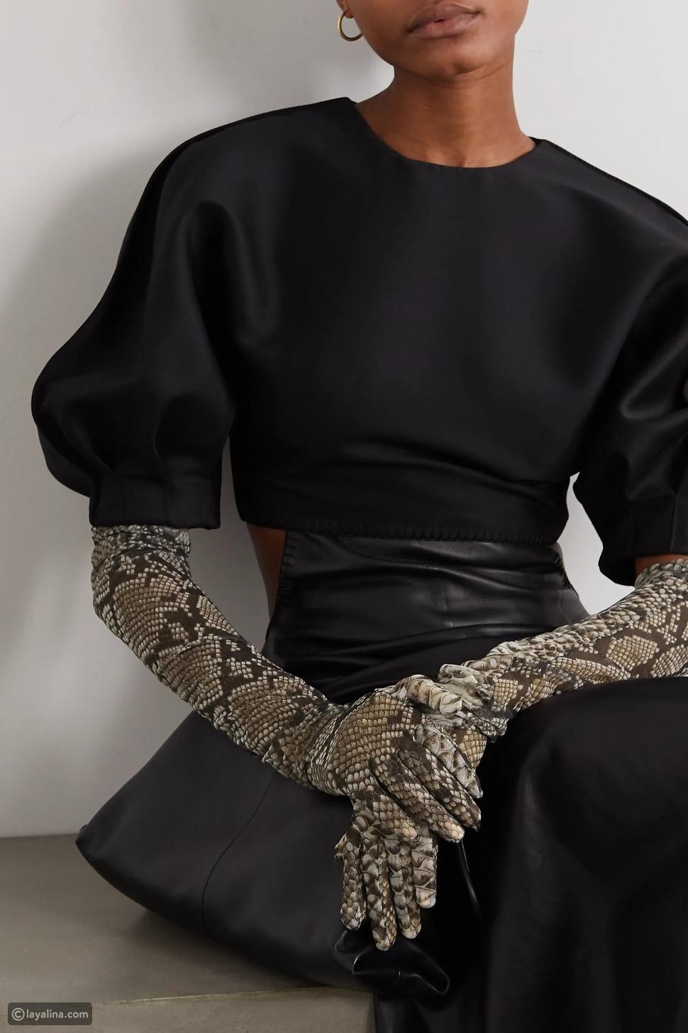 قفازات من جلد الثعبان
