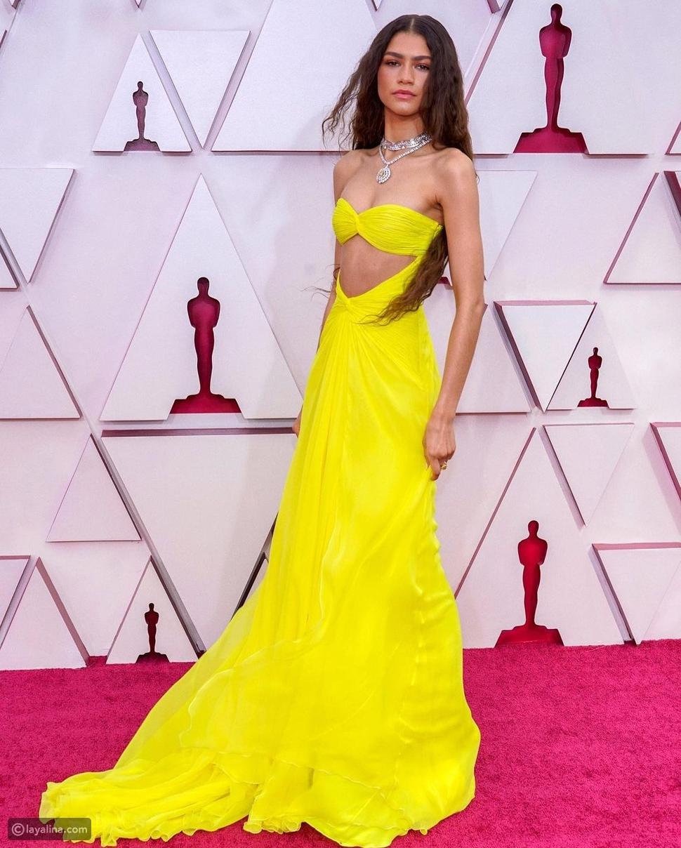 زيندايا بفستان أصفر في حفل أوسكار Oscars 2021 بتوقيع Valentino