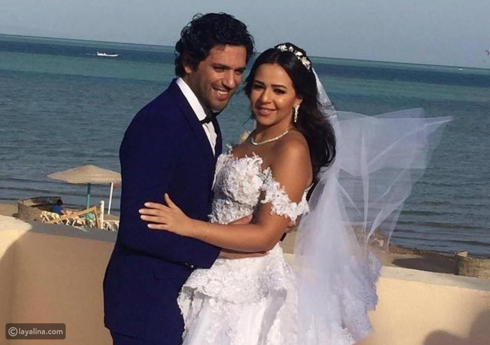 صورة من زفاف إيمي سمير غانم وحسن الرداد