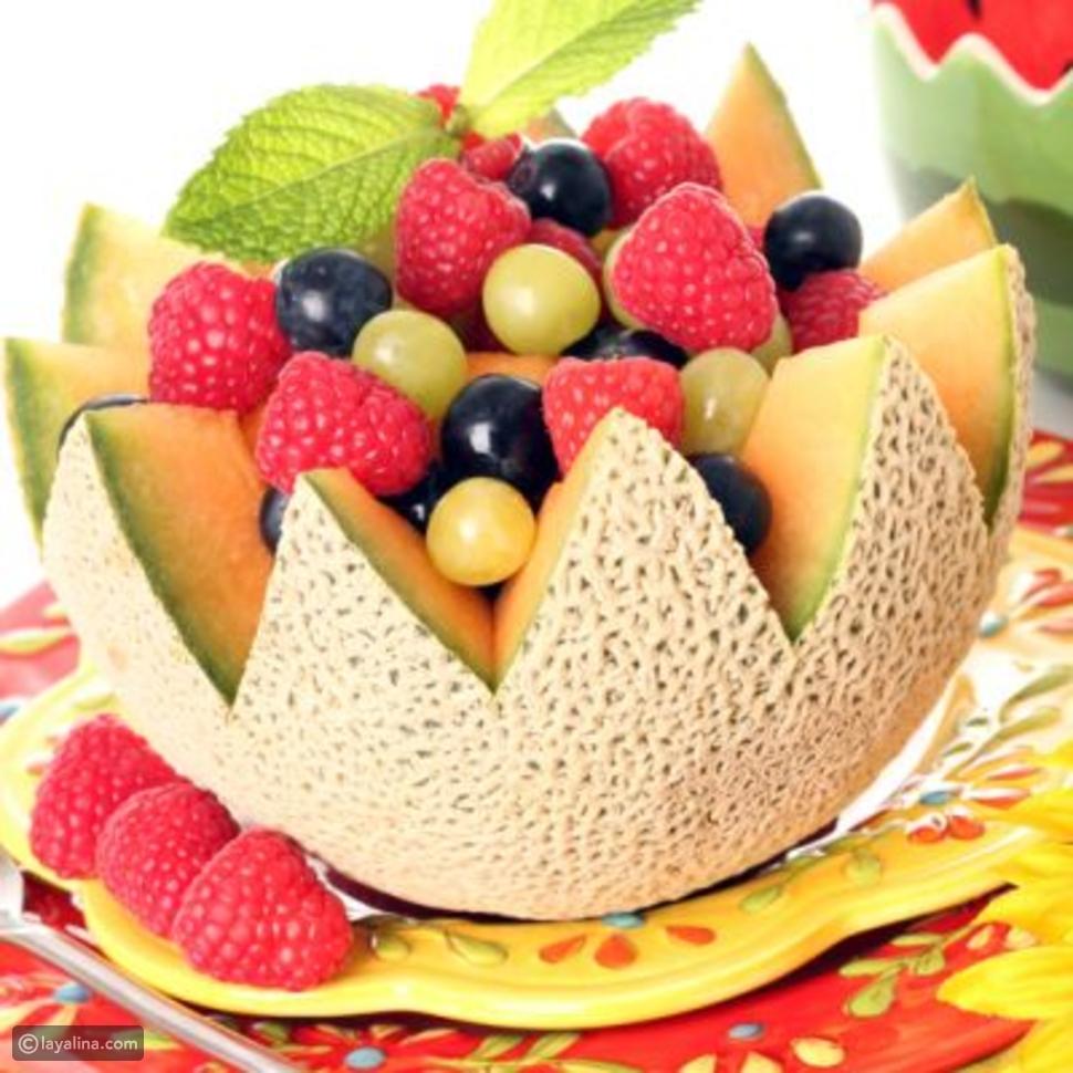 طريقة تحضير سلطة البطيخ والفواكه Melon Fruit Bowl